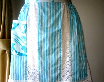 APRON Kitchen Pinafore Cook Chef Skirt Cover Vintage Aqua Teal White Stripe Lace