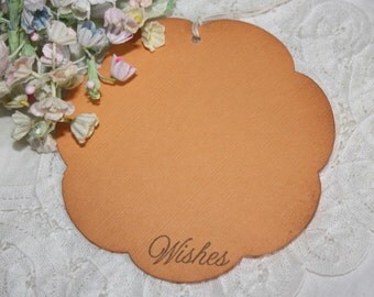 Wish Tree Wedding Tags - Orange Flowers - Birthday Wish Tags - Shower Wish Tags
