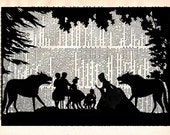Upcycled Book Print - Fairy Tale Paper Cut - Wolves and Forest Fairytale Silhouette Art Print - Nursery Illustration