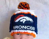 Custom handmade knit NFL DENVER BRONCOS baby Hat 0-12M-cute gift photos