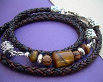 Braided Leather and Gemstone Triple Wrap Bracelet, Leather Bracelet, Mens Jewelry, Womens Jewelry, Mens Bracelet, Womens Bracelet
