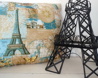 Paris, Eiffeltower, Aqua colors, Butterflies, The World, Gold colors Pillow