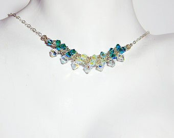"Frozen Elsa Inspired Swarovski Crystal Necklace Beadweaving Sterling Silver -  ""Ice Queen"""