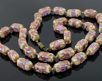 SALE - Murano 1930's Glass Necklace -  Wedding Cake Technique -Venetian Italy Deco Down from 125.00