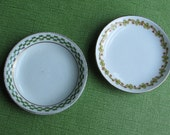 Sweet Vintage Butter Pats - Two - Irish Theme - Green and White