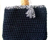 KNITTED BAG - Purse, t-shirt yarn, recycled yarn, polyester in black color with striped white and black and acrylic rings