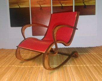 Art Nouveau style red leather armchair , 1/12 miniature for dollhouses