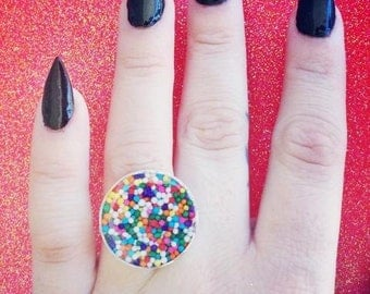Round Rainbow Sprinkle Ring (Adjustable)