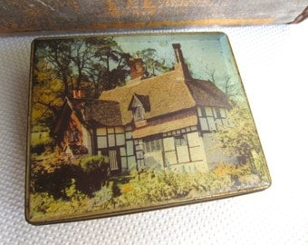 Vintage Country Manor Thatched Roof Tin by Edward Sharp made in England