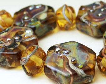 Lampwork Glass Bead Set Hexagon Iridescent Gold Topaz Ivory Green Purple 'Limoncello'