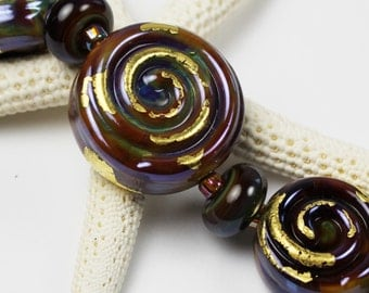 Artisan Glass Lampwork Bead Set Spiral Blue Purple Gold 'Inca Mines'