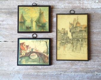 Set of 3 Italian Florentine Fine Art Images on Wood