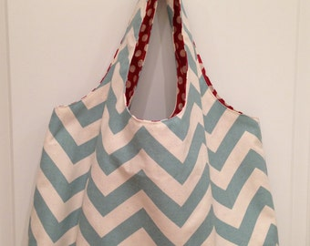 Canvas Tote Bag- Aqua Chevron With Green Latice Design Interior