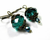 Teal Victorian Style Czech Glass Dangle Earrings, Sparkling Jewelry, Affordable Gift Ideas for Women, Vintage Style Antiqued Brass Earrings
