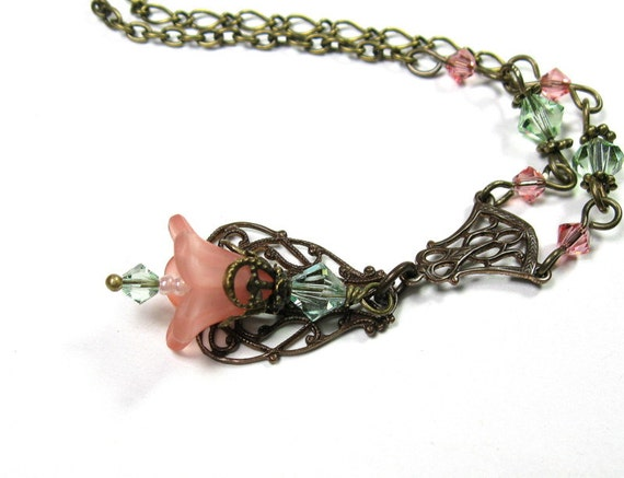 Peach and Chrysolite Flower Necklace, Gifts for Gardeners, Pastel, Soft, Floral Jewelry, Gifts for Mom, Pantone Spring, Two Tone Flower