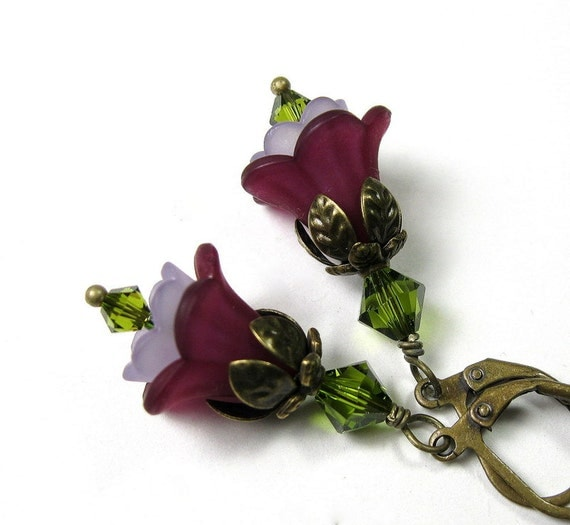 Flower Earrings, Amethyst, Olive Green, Purple, Gifts for Gardeners, Floral Jewelry, Gifts for Her, Two Tone Earrings, Swarovski, Garden