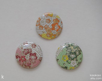 Flower Pattern Origami Button / Magnet Set of 3