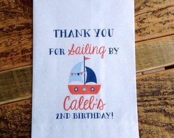 Nautical Birthday Favor Bags Navy Sailboat Personalized 5x7