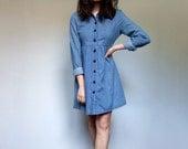 90s Blue Jean Dress Button Up Casual Collar Simple Mini Denim Dress - Extra Small XS