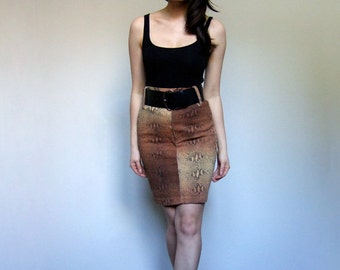 80s Animal Print Skirt High Waisted Jean Pencil Skirt - Extra Small XXS