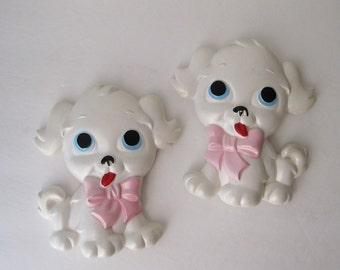 Chalkware Puppy Wall Plaques, Nursery Decor