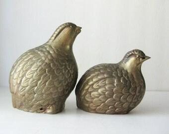 Vintage Brass Quails, Large Pair