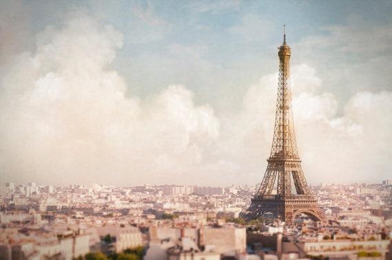 Paris Photography - Paris Above the Clouds, Eiffel Tower, Paris Decor, Urban Wall Decor, Large Wall Art