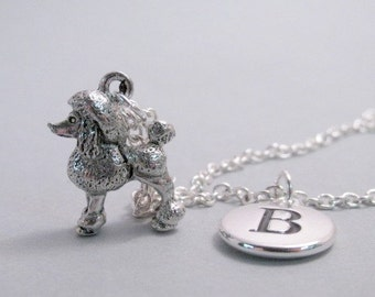 Poodle Charm Necklace, Poodle Keychain, Silver Plated Charm, Initial, Monogram