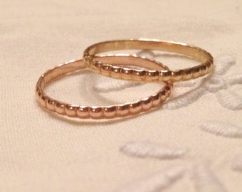A Darling Duo: Set of 14k Beaded Wedding Bands, Handmade in Maine