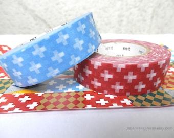 EXTRA LENGTH Pack of 2 - MT Washi Masking Tape Red Washi Blue Washi White Crosses 15mm x 15m ( 2 roll set)