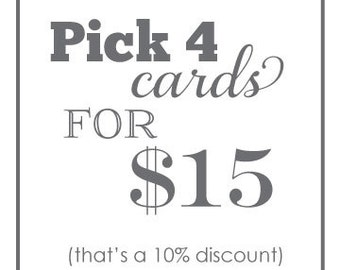 Pick ANY 4 - value pack - Assorted Letterpress cards