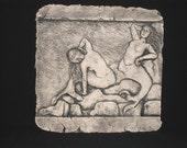 Mermaids on Rock Ceramic Pottery Female Sculpture Tile