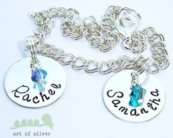 Charm bracelet - handstamped name bracelet - Silver charm bracelet - Two names with birthstones