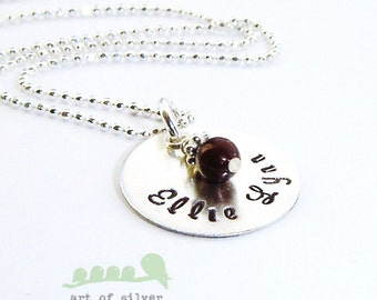 Charm necklace - Personalized mother necklace - Handstamped name charm