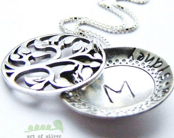 Sales - Mother necklace - Handstamped name necklace - mommy charm necklace - silhouette family tree necklace medium size