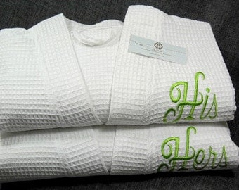 His and Hers Monogram Bathrobes, Couples Personalized Robes, Cotton 2nd Anniversary Gift, Mens Womens Bathrobes, 1402 Set of 2 Robes