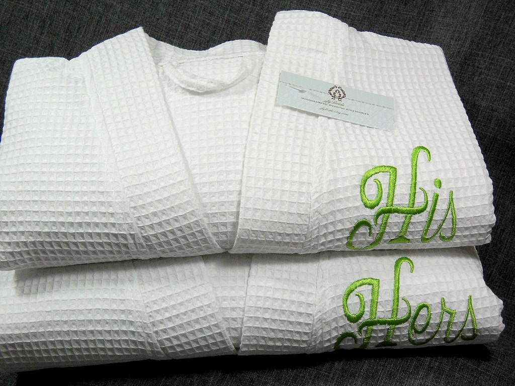 his and hers monogram bathrobes couples personalized robes