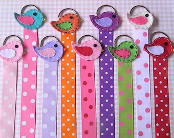 Bird Hair Bow Holder Hair clip holder Barrette holder with Polka Dot Ribbon
