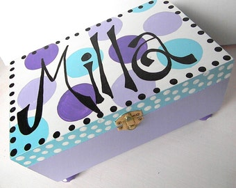 Hand Painted Jewelry Boxes-Polka Dot Box-Personalized Wooden Box- Trinket Box