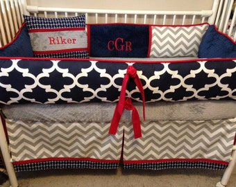 Baby bedding boy Crib sets Navy Blue, REd, Gray and White  Chevron  DEPOSIT DOWN PAYMENT Only