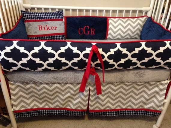 Navy blue red gray and white chevron baby bedding crib set - Red white and blue sheets ...