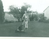 Typical American Dad Man Mowing Lawn Mower Shorts No Shirt 1950s Vintage Photo Black and White Photograph