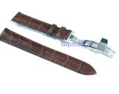 Alligator Genuine Leather Watch Band Deployant Clasp Buckle...DIY...20mm...USA...Brown...K57-20