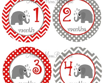 GIFT, Monthly Baby Stickers, Baby Month Stickers, Elephants, Milestone Stickers, Baby Shower Gift,  Red, Grey, Elephant Nursery Decor