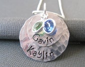 Personalized Necklace - Hand Stamped Silver Custom Jewelry - Double Hammered Discs with Swarovski Crystals