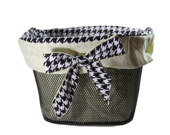 Bike Basket Liner Black White and Yellow Hounds tooth For Bell Baskets