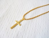 Gold cross necklace: Cute yellow gold plated brass classic cross statement pendant with fancy chain