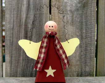 Angel, Painted Wood Angel, Primitive, Angel Hanger, Wall Decor, Folk Art, Rustic, Barn Red, Pale Yellow, Checked Ribbon