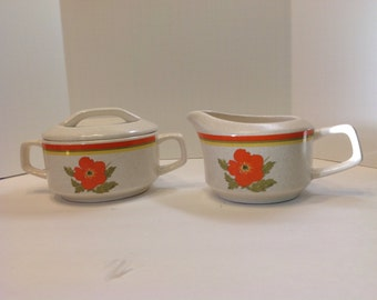Temper-Ware by Lenox Fire Flower Cream and Sugar Set