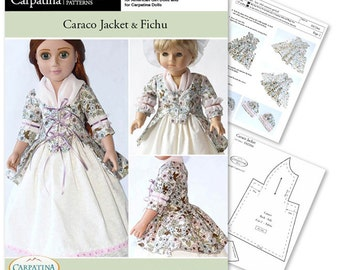 """Caraco Jacket and Fichu Doll Clothes Pattern as Downloadable PDF, Comes in 2 sizes: for 18"""" American Girl and slim Carpatina dolls"""